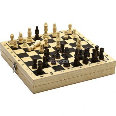 Dřevěné šachy a dáma v boxu Jeujura
