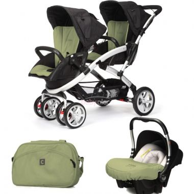 Kočárek pro dvojčata Casualplay Stwinner, Autosedačka Baby 0+ a taška
