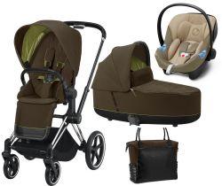 Kočárek Set 3v1 Cybex Priam 2020 Podvozek Chrome Black + Seat Pack + Hluboká korbička Lux + Aton M I-Size + Taška