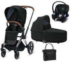 Kočárek Set 3v1 Cybex Priam 2020 Podvozek Chrome Brown + Seat Pack + Hluboká korbička Lux + Aton M I-Size + Taška