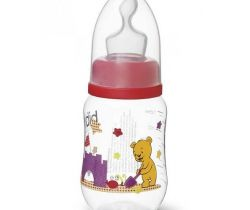 Kojenecká láhev Bibi 125 ml Medvídek červená