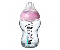 Kojenecká láhev C2N 250 ml skleněná potisk 0 m+ Tommee Tippee