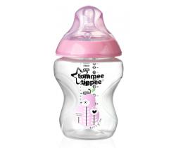 Kojenecká láhev s obrázky Tomme Tippee C2N, 2ks 260ml, 0+ růžová hruška