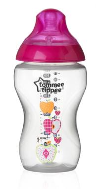 Kojenecká láhev s obrázky Tomme Tippee C2N, 2ks 340ml, 3+m růžové jablíčka
