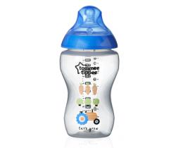 Kojenecká láhev s obrázky Tomme Tippee C2N, 340ml, 3+  Modrý Traktůrek