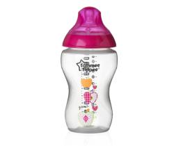 Kojenecká láhev s obrázky Tomme Tippee C2N, 340ml, 3+ Růžová Jablíčka