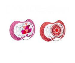 Lovi Etno silikonové dynamické šidítko červeno-růžové 2 ks