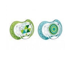 Lovi Etno silikonové dynamické šidítko zeleno-modré 2 ks