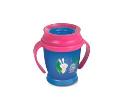 Lovi Hrníček 360 MINI Rabbit 210ml s úchyty bez BPA růžový