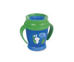 Lovi Hrníček 360 MINI Rabbit 210ml s úchyty bez BPA zelený