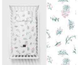 Lullalove Bavlněné ložní povlečení 135x100 cm - Luční kvítí růžové