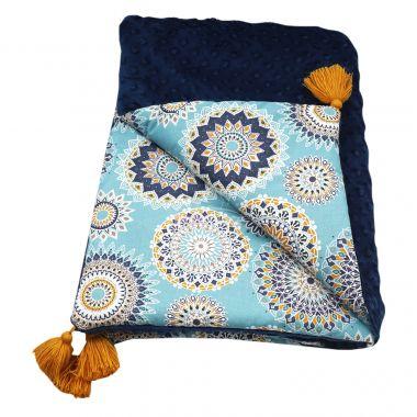 Luxusní deka minky LittleUp Mandala Dark Blue