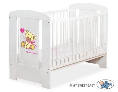 My Sweet Baby Méďa s mašlí dětská postýlka 120x60 cm