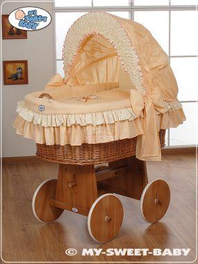 My Sweet Baby Méďa s mašlí proutěný koš s boudou, přírodní
