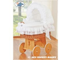 My Sweet Baby s mašlí proutěný koš s boudou, přírodní