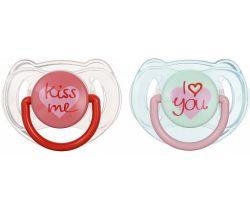 Ortodontický dudlík 2 ks Avent I Love You/Kiss Me