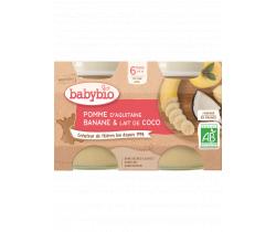 Ovocný příkrm jablko,banán a kokosové mléko 2x130g Babybio