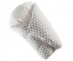 Péřová zavinovačka Dráček bílá šedé trojúhelníky