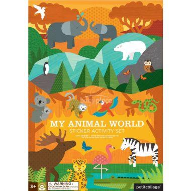 Znovupoužitelné samolepky se scénou Petitcollage Můj svět zvířat