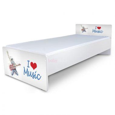 Postel 180 x 80 cm Pinokio Deluxe Classic I love music C-42