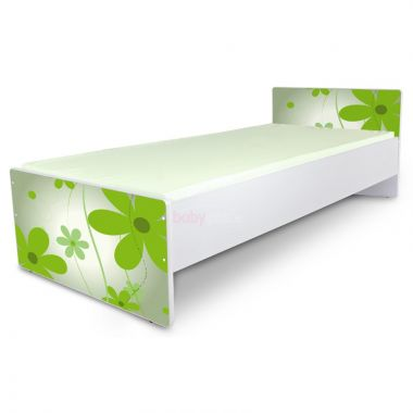 postel 180 x 80 cm Pinokio Deluxe Classic Zelené květinky C-2