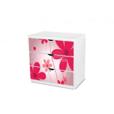 Pinokio Deluxe Růžové květinky 1 šuplíková komoda