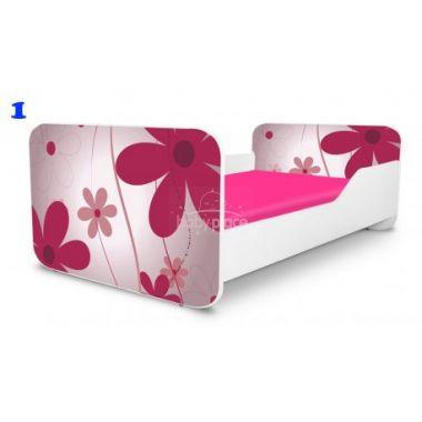 Dětská postel Pinokio Deluxe Square Růžové květinky 1