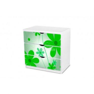 Pinokio Deluxe Zelené květinky 02 šuplíková komoda