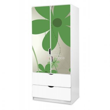 Pinokio Deluxe Zelené květinky 2 šatní skříň