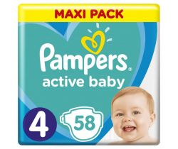 Pleny Pampers Active Baby Maxi Pack 4 (9-14 kg) 58 ks