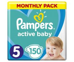 Pleny Pampers Active Baby vel. 5 (11-16 kg) 150 ks - měsíční balení