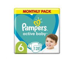 Pleny Pampers Active Baby vel. 6 (13-18 kg) 128 ks - měsíční balení