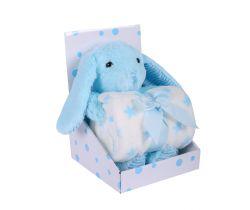 Plyšák + Deka 75x100 cm DuetBaby Bunny Blue