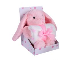 Plyšák + Deka 75x100 cm DuetBaby Bunny Pink
