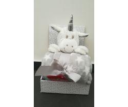 Plyšová deka + 100x75 cm deka Bobas White Cow Unicorn