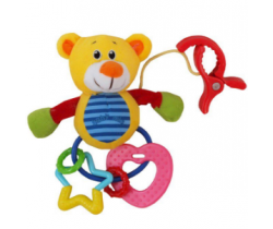 Plyšová hračka s chrastítkem BabyMix Žlutý Medvídek