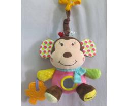 Plyšová hračka s hudbou BabyMix Opička růžová