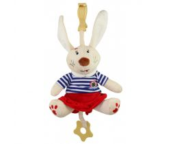 Plyšová hračka s klipem a vibrací BabyMix Králíček Námořník v šatičkách