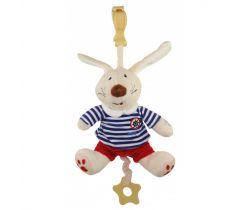 Plyšová hračka s klipem a vibrací BabyMix Králiček Námořník v tepláčkách