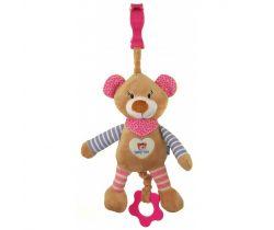 Plyšová hračka s melodií BabyMix Medvídek růžový