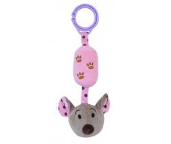 Plyšová hračka s rolničkou BabyMix Myška růžová