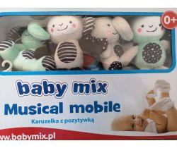 Plyšový hudební kolotoč BabyMix Mix Zoo Mint
