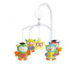Plyšový hudební kolotoč BabyMix Owls Multicolour