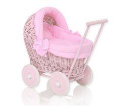Proutěný kočárek pro panenku My Sweet Baby Růžový