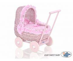 Proutěný kočárek pro panenky růžový My Sweet Baby