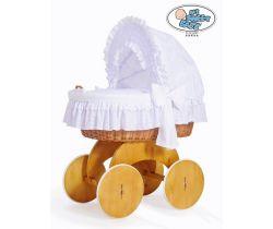 Proutěný koš s boudou s krajkou My Sweet Baby Charlotte přírodní