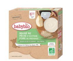 Rýžová kaše s broskví a hruškou 4 x 85 g Babybio