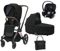 Kočárek Set 3v1 Cybex Priam 2020 Podvozek Rosegold + Seat Pack + Hluboká korbička Lux + Aton M I-Size + Taška
