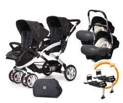 Set Kočárek pro dvojčata Casualplay Stwinner, 2x autosedačka Baby 0Plus, 2x Basefix Baby 0Plus a taška