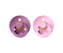 Šidítko kulaté Kaučuk 2 ks Bibs Colour Lavender / Baby Pink